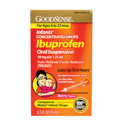 GoodSense® Infants' Ibuprofen Oral Suspension 50 mg per 1.25 mL, Berry Flavor Image