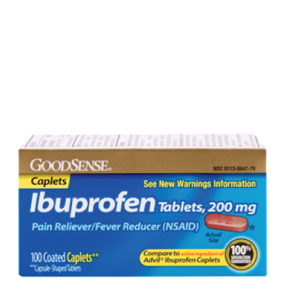 GoodSense® Ibuprofen Tablets, 200 mg (Capsule-Shaped Tablets