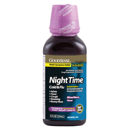 GoodSense® NightTime Cold & Flu Relief Mixed Berry Flavor Image