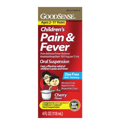 GoodSense® Children's Pain and Fever Acetaminophen, Cherry Flavor Image